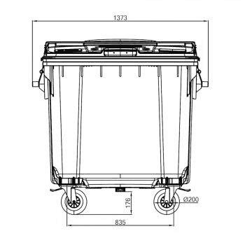 Contentor de Lixo Power Bear 1100 Litros Desenho técnico