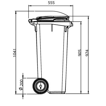 Contentor de Lixo Bahia Lixeiras 120 Litros Desenho técnico