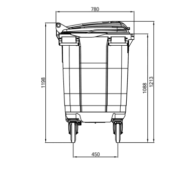 Contentor de Lixo Power Bear 660 Litros Desenho técnico